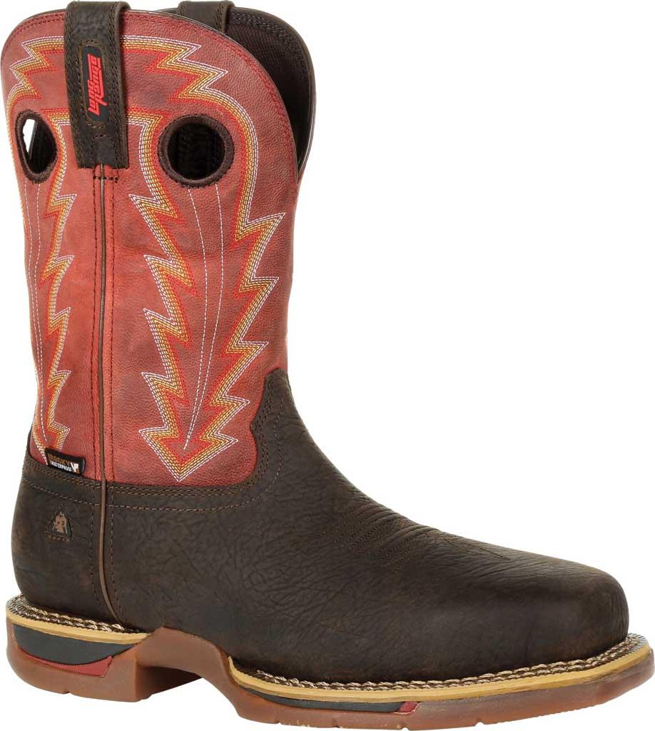 Men's Rocky Long Range CT Waterproof Western Boot RKW0319, Brown/Red Full Grain Leather, large, image 1