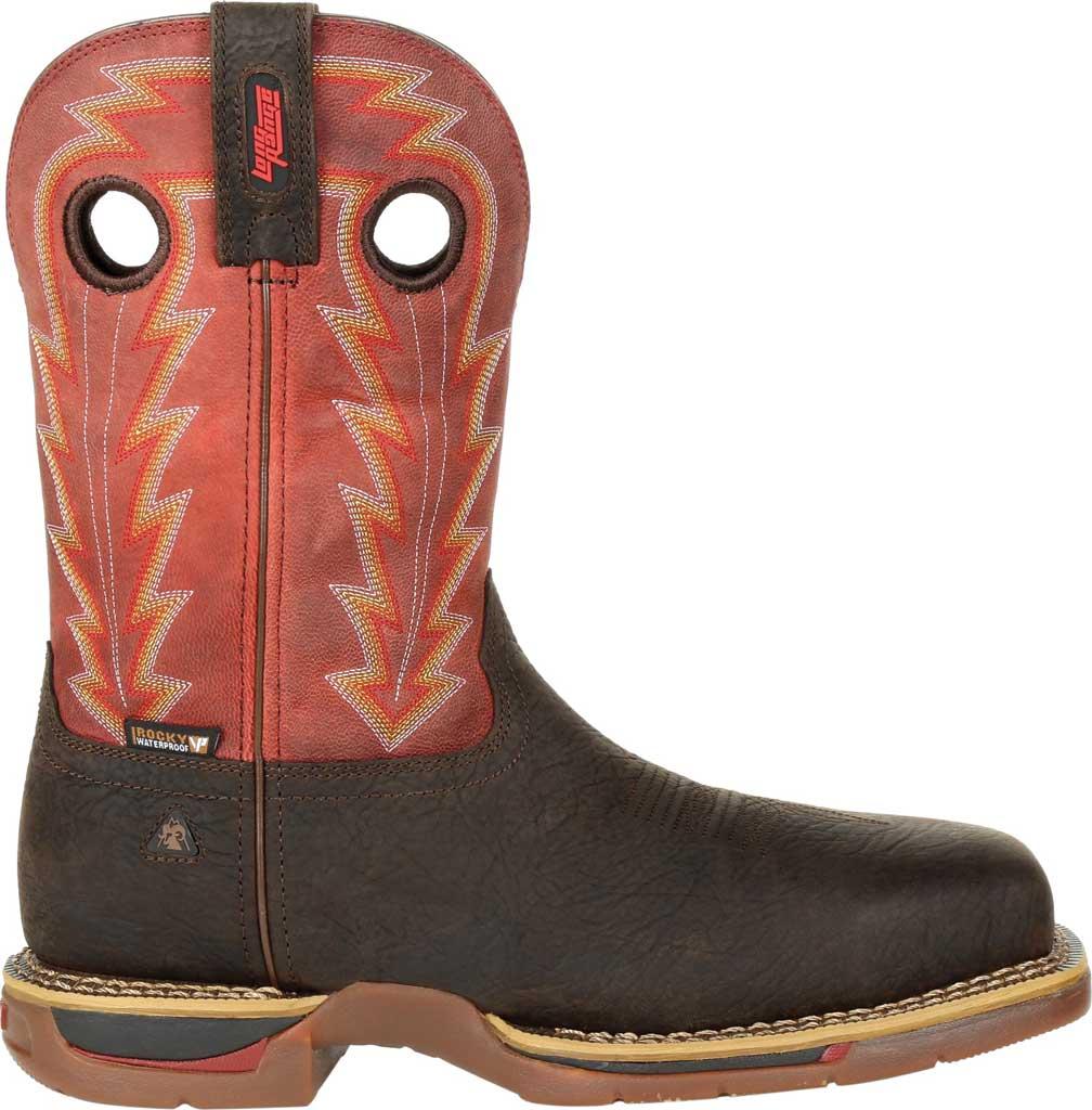 Men's Rocky Long Range CT Waterproof Western Boot RKW0319, Brown/Red Full Grain Leather, large, image 2