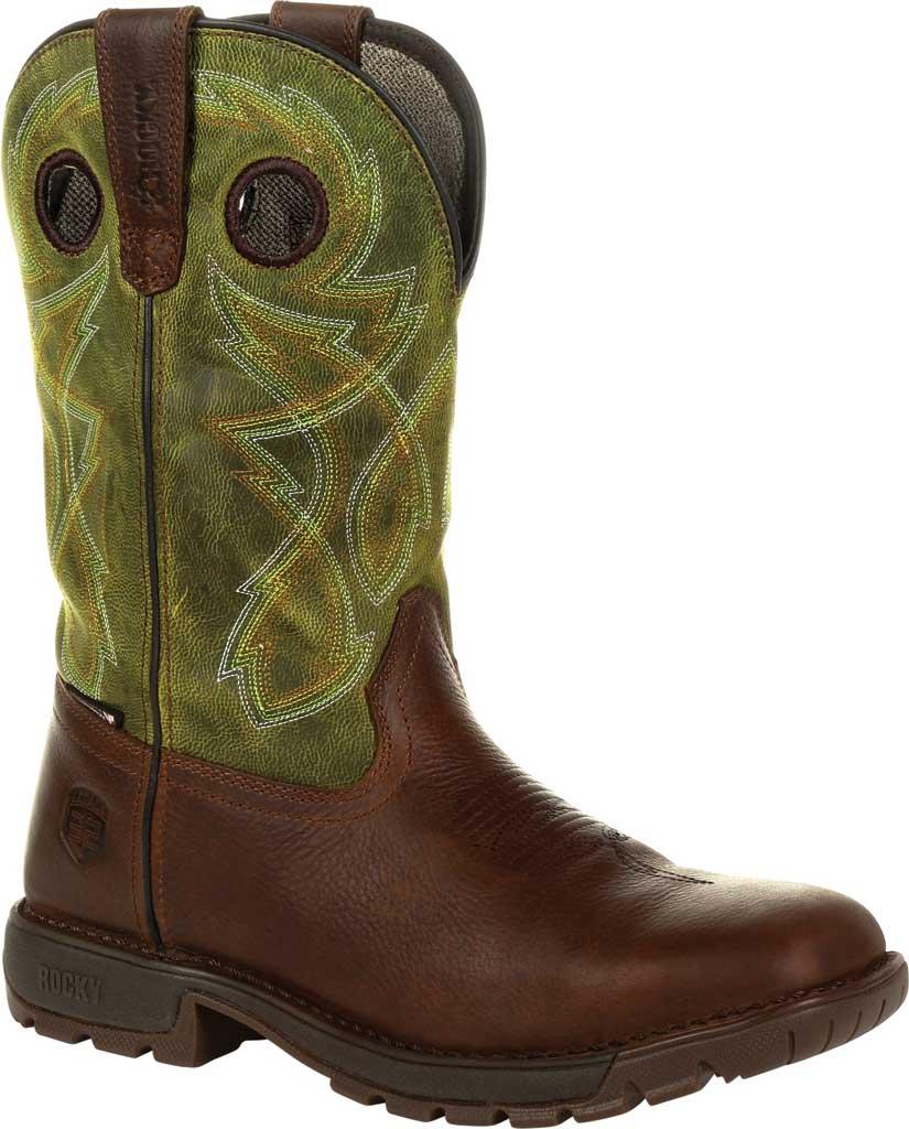 Men's Rocky Legacy 32 Waterproof Western Boot RKW0318, Brown/Green Full Grain Leather, large, image 1