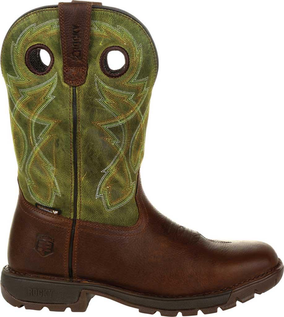 Men's Rocky Legacy 32 Waterproof Western Boot RKW0318, Brown/Green Full Grain Leather, large, image 2