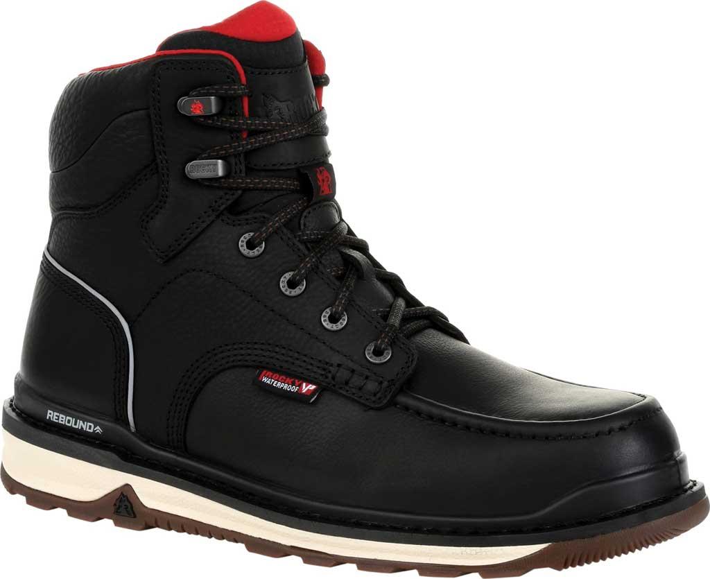 Men's Rocky Rams Horn Waterproof Work Boot RKK0303, Black Full Grain Leather, large, image 1