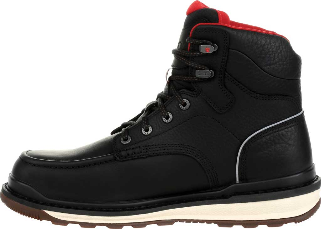 Men's Rocky Rams Horn Waterproof Work Boot RKK0303, Black Full Grain Leather, large, image 3