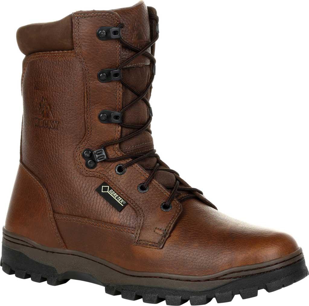 Men's Rocky Outback Plain Toe GTX WP Outdoor Boot RKS0476, Brown Full Grain Leather, large, image 1