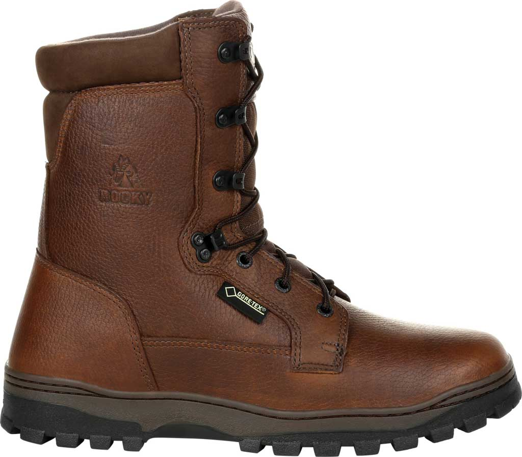 Men's Rocky Outback Plain Toe GTX WP Outdoor Boot RKS0476, Brown Full Grain Leather, large, image 2