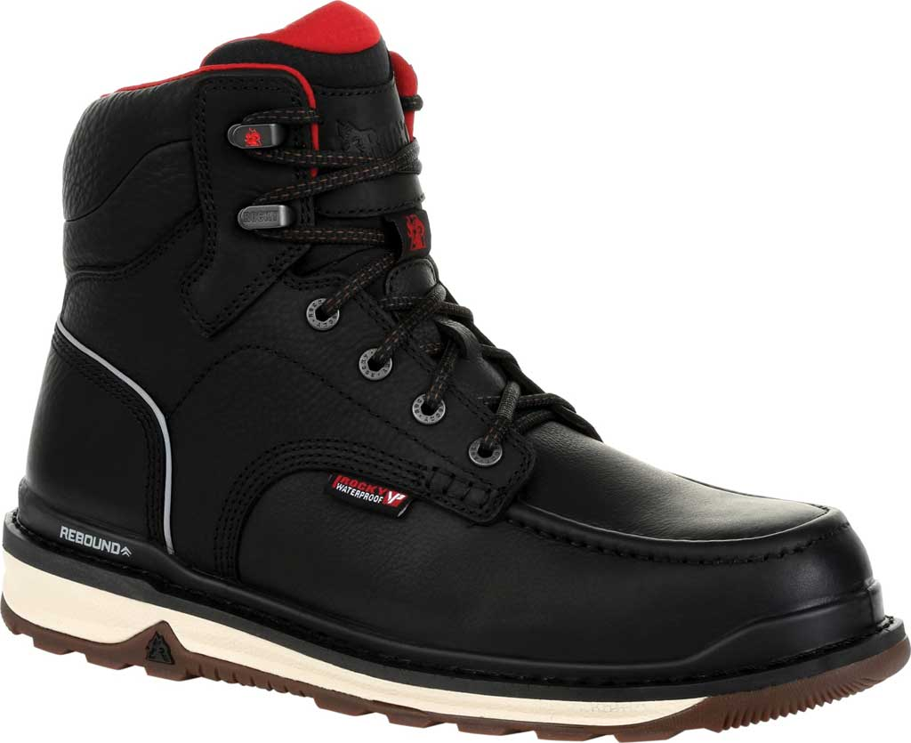 Men's Rocky Rams Horn CT Waterproof Work Boot RKK0304, Black Full Grain Leather, large, image 1