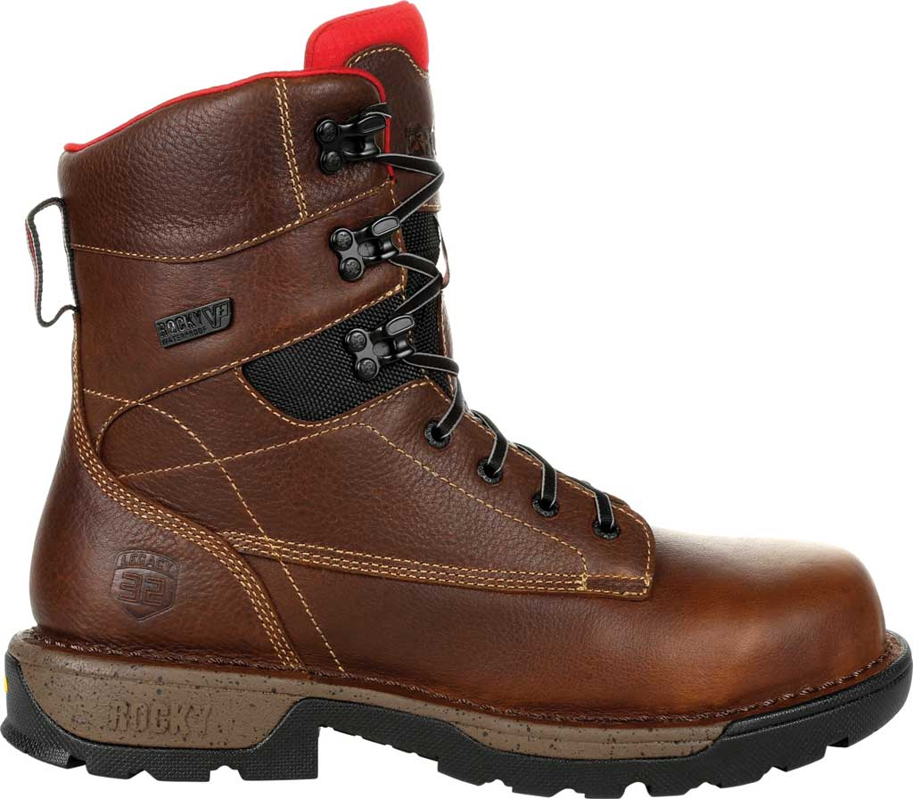 "Men's Rocky Legacy 32 8"" CT Waterproof Work Boot RKK0302, Brown Full Grain Leather, large, image 2"