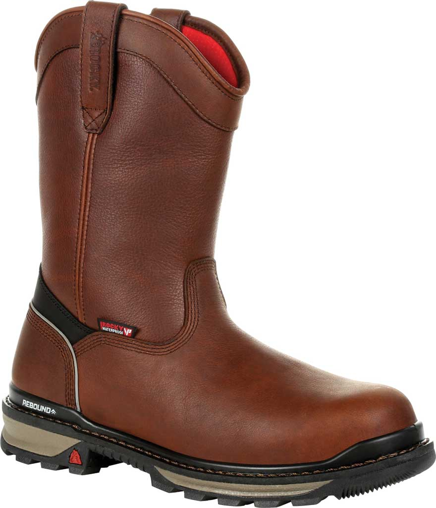 Men's Rocky Rams Horn Insulated WP CT Pull On Boot RKK0306, Dark Brown Full Grain Leather, large, image 1