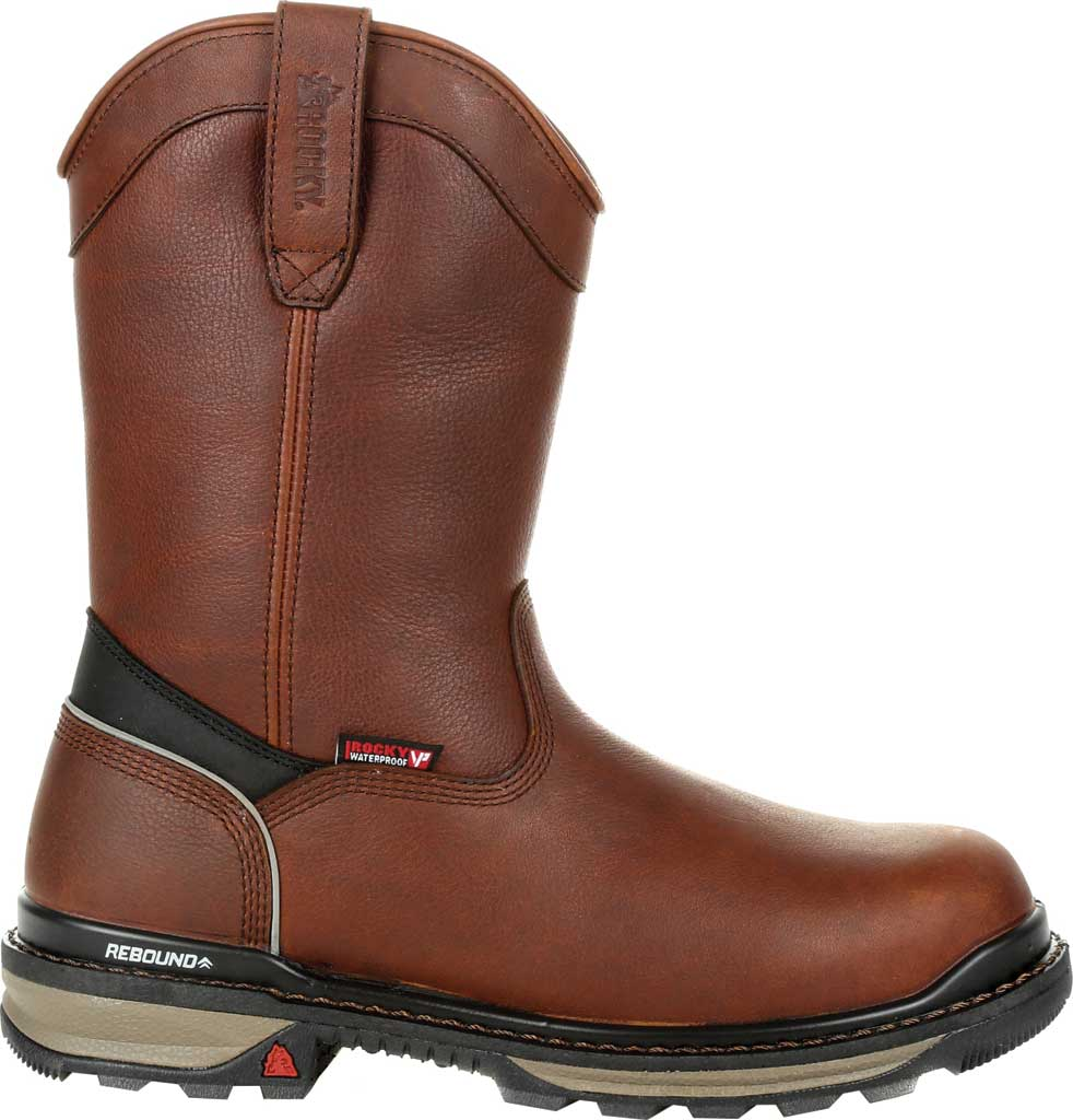 Men's Rocky Rams Horn Insulated WP CT Pull On Boot RKK0306, Dark Brown Full Grain Leather, large, image 2