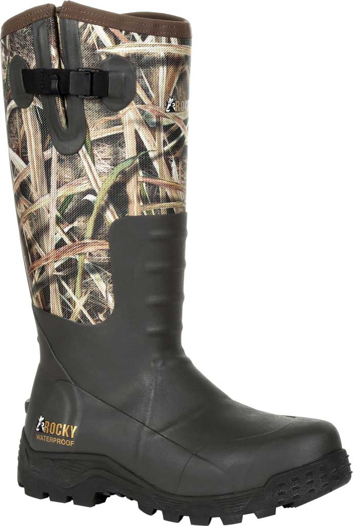 Men's Rocky Sport Pro Pull On Rubber Snake Boot RKS0478, Mossy Oak Shadow Grass Blades Rubber/Neoprene, large, image 1