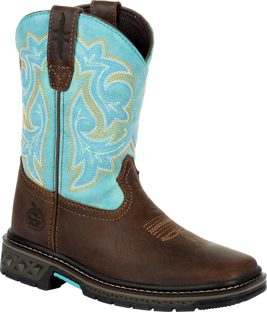Children's Georgia Boot GB00410Y Carbo-Tec LT Big Kid Pull On Boot, Brown/Turquoise Full Grain Leather/Synthetic, large, image 1