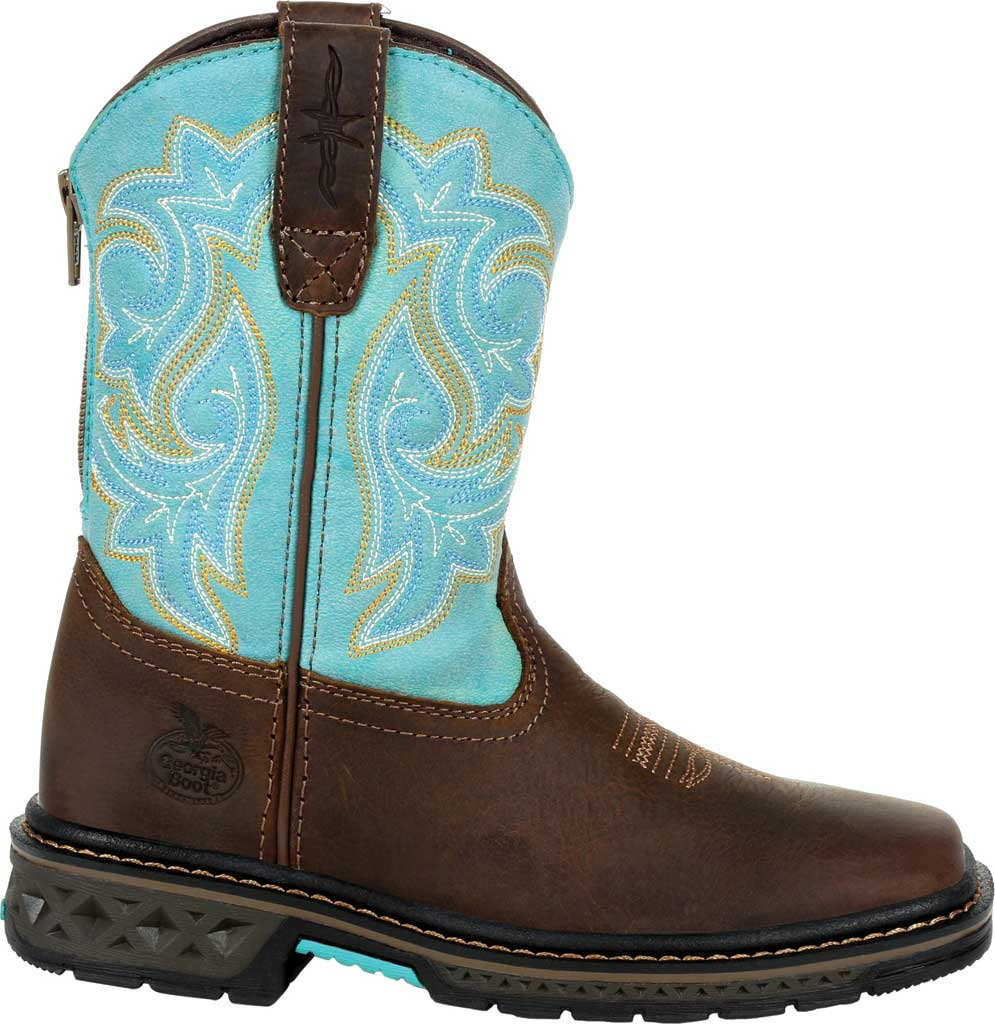 Children's Georgia Boot GB00410Y Carbo-Tec LT Big Kid Pull On Boot, Brown/Turquoise Full Grain Leather/Synthetic, large, image 2