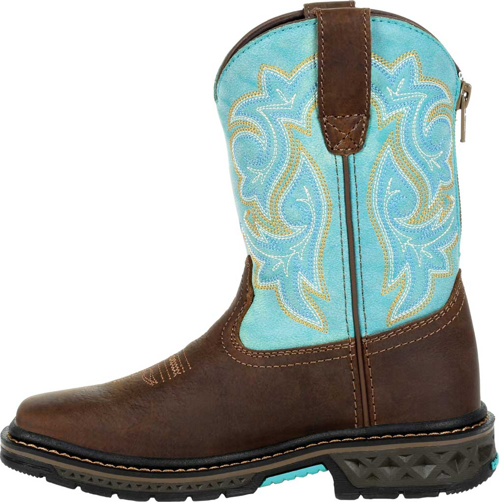 Children's Georgia Boot GB00410Y Carbo-Tec LT Big Kid Pull On Boot, Brown/Turquoise Full Grain Leather/Synthetic, large, image 3
