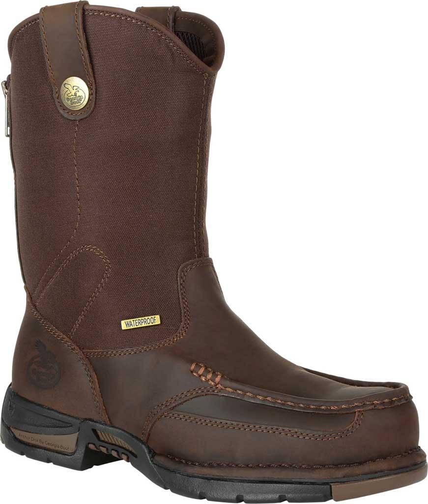 Men's Georgia Boot GB00366 Athens Waterproof Pull On Work Boot, Dark Brown Full Grain Leather/Nylon, large, image 1
