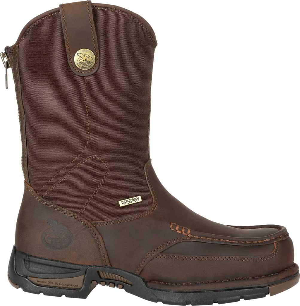 Men's Georgia Boot GB00366 Athens Waterproof Pull On Work Boot, Dark Brown Full Grain Leather/Nylon, large, image 2