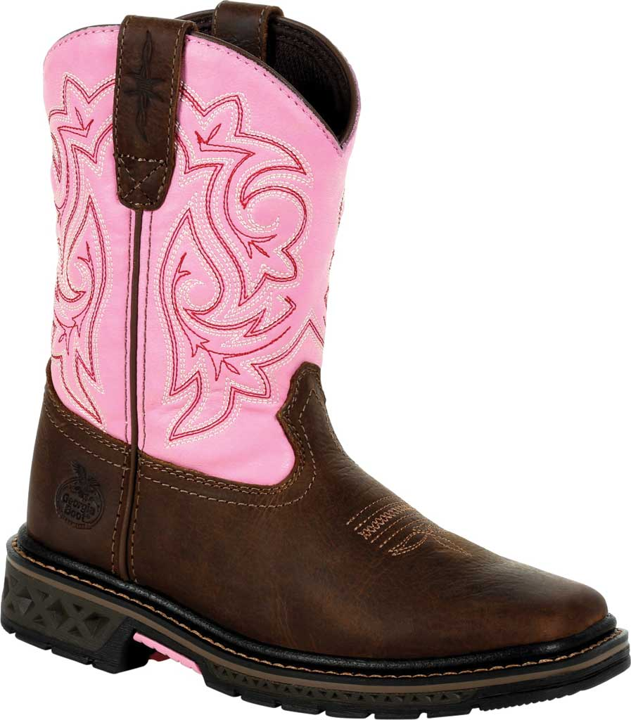 Children's Georgia Boot GB00411Y Carbo-Tec LT Big Kid Pull On Boot, Brown/Pink Full Grain Leather/Synthetic, large, image 1