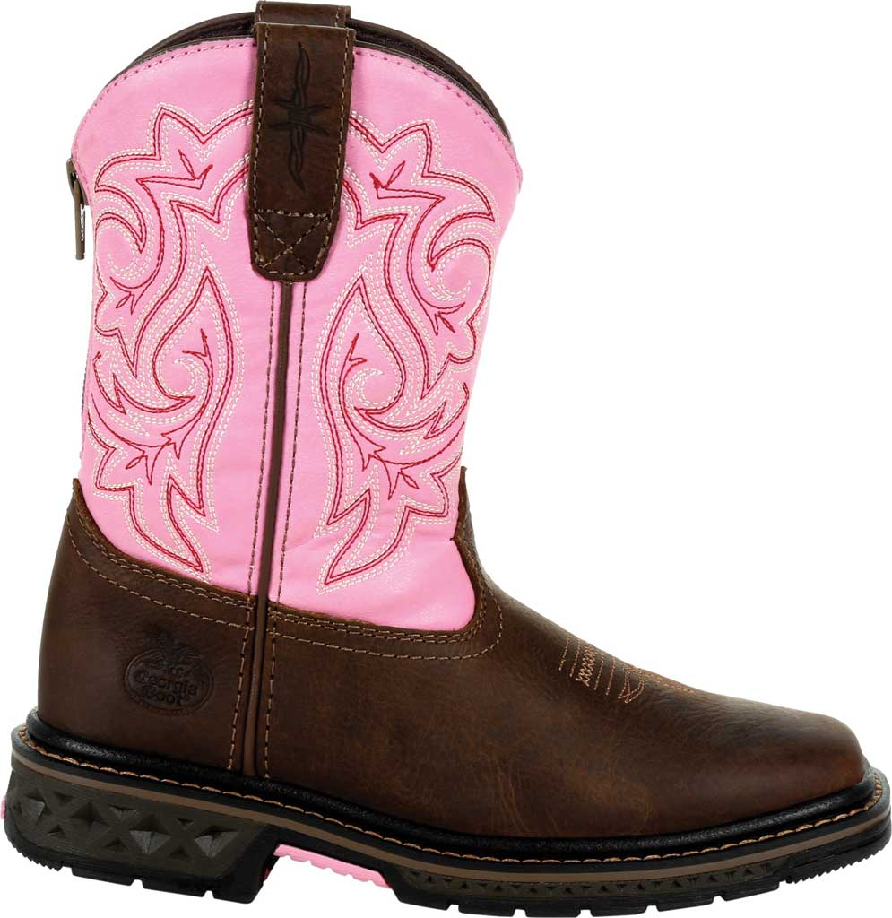 Children's Georgia Boot GB00411Y Carbo-Tec LT Big Kid Pull On Boot, Brown/Pink Full Grain Leather/Synthetic, large, image 2