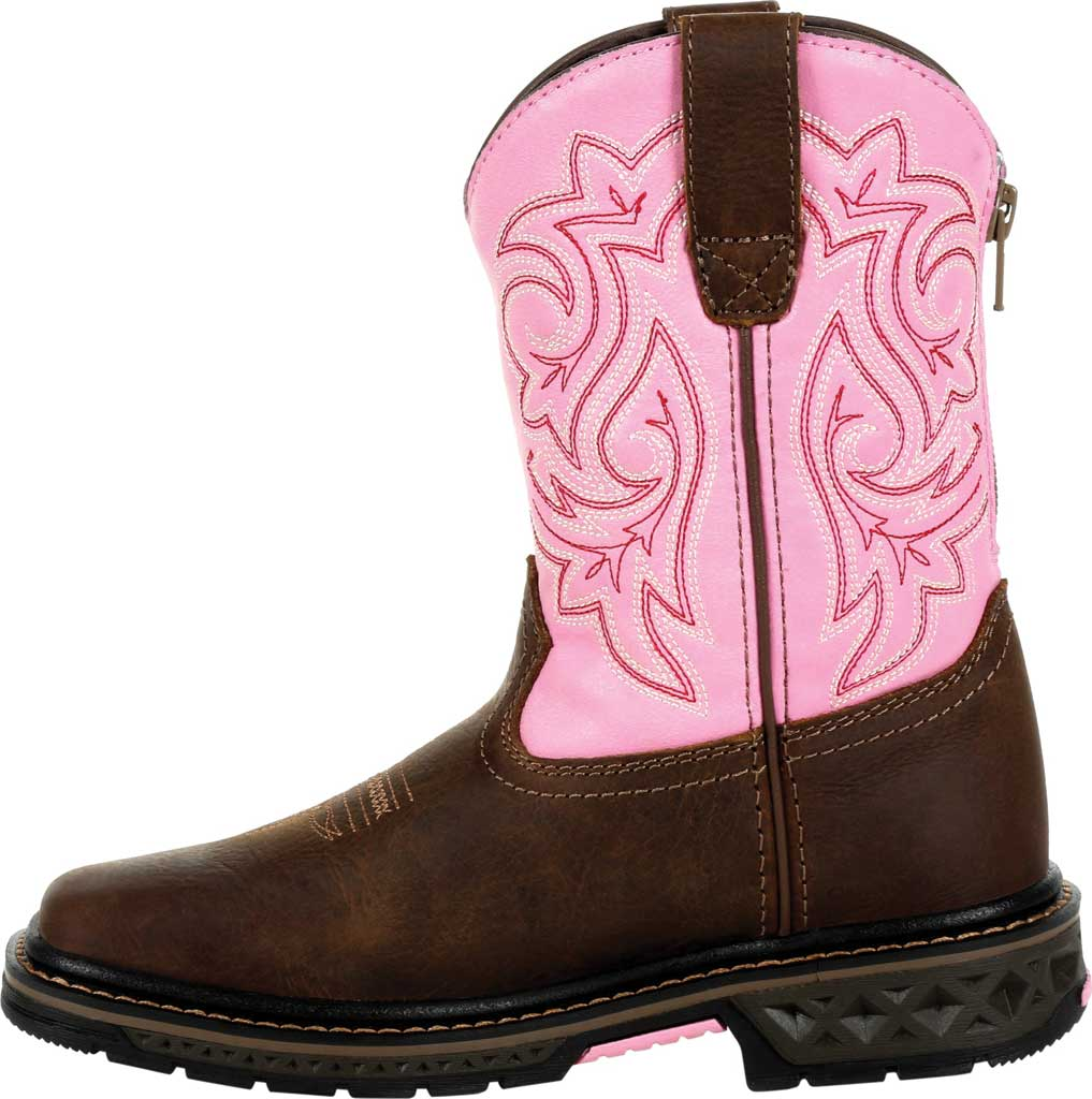 Children's Georgia Boot GB00411C Carbo-Tec LT Little Kid Pull On Boot, Brown/Pink Full Grain Leather/Synthetic, large, image 3