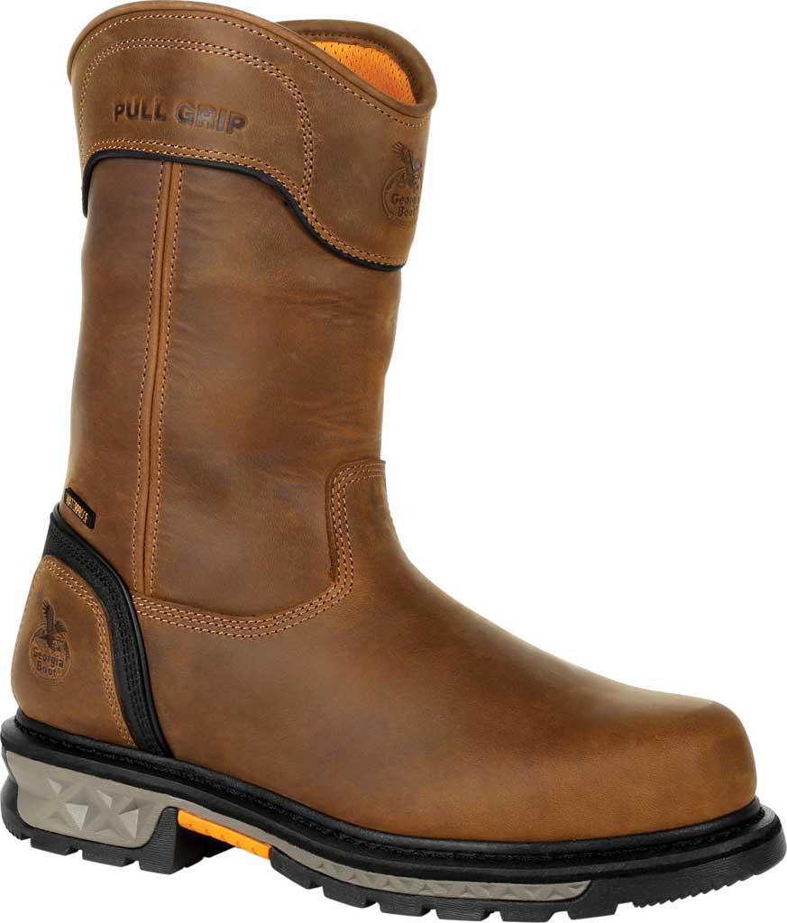 Men's Georgia Boot GB00393 Carbo-Tec LTX Waterproof Pull On Work Boot, Black/Brown Full Grain Leather, large, image 1