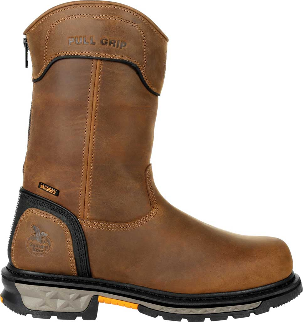 Men's Georgia Boot GB00393 Carbo-Tec LTX Waterproof Pull On Work Boot, Black/Brown Full Grain Leather, large, image 2