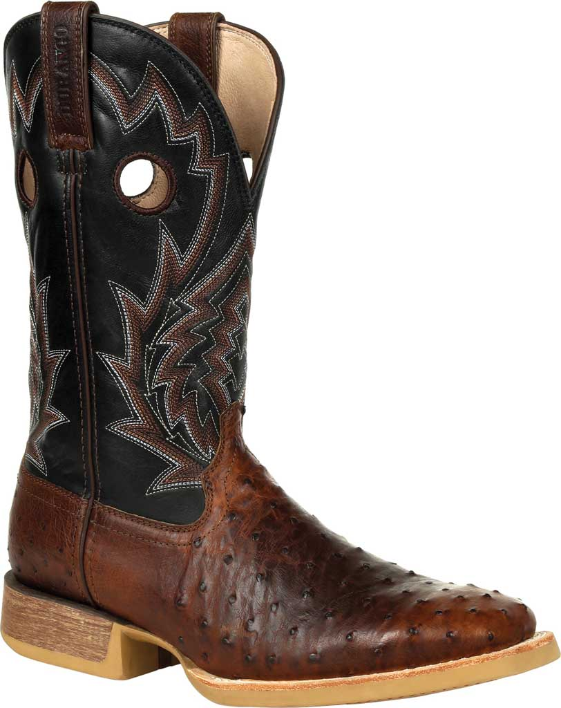 Men's Durango Boot DDB0306 Rebel Pro Oiled Ostrich Western Boot, Oiled Saddle/Black Ostrich/Full Grain Leather, large, image 1