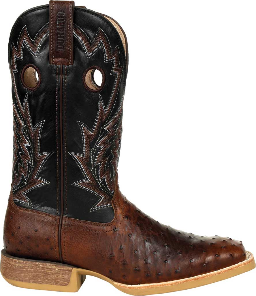 Men's Durango Boot DDB0306 Rebel Pro Oiled Ostrich Western Boot, Oiled Saddle/Black Ostrich/Full Grain Leather, large, image 2