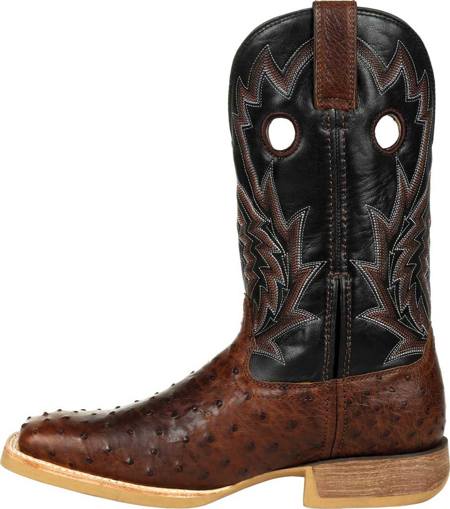 Men's Durango Boot DDB0306 Rebel Pro Oiled Ostrich Western Boot, Oiled Saddle/Black Ostrich/Full Grain Leather, large, image 3