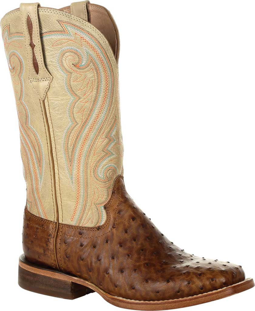 Women's Durango Boot DRD0388 Premium Exotics Quill Ostrich Western Boot, Sunset Wheat/Ivory Ostrich/Full Grain Leather, large, image 1