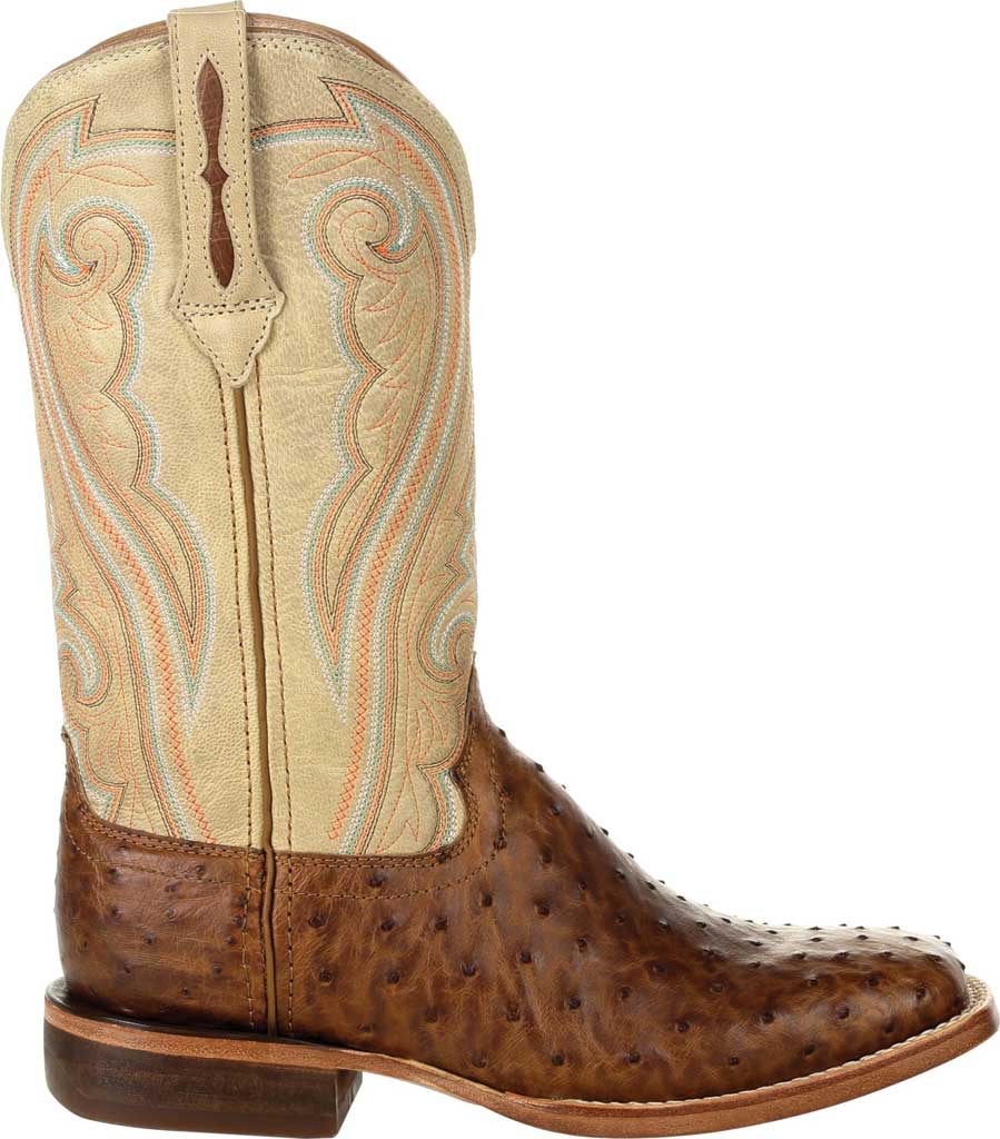 Women's Durango Boot DRD0388 Premium Exotics Quill Ostrich Western Boot, Sunset Wheat/Ivory Ostrich/Full Grain Leather, large, image 2