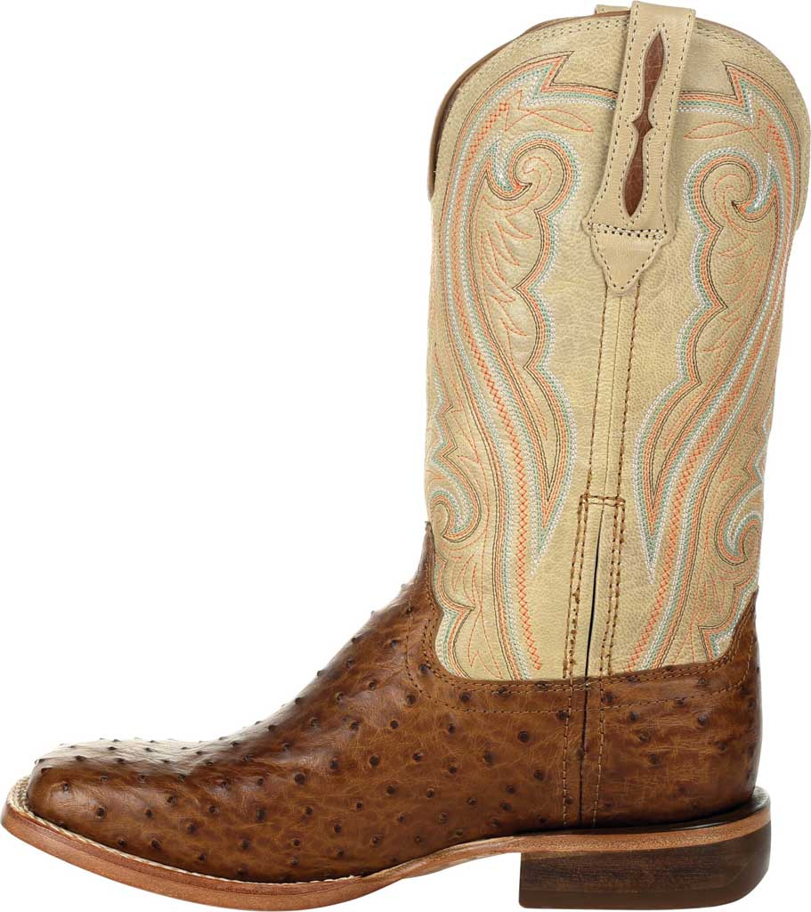 Women's Durango Boot DRD0388 Premium Exotics Quill Ostrich Western Boot, Sunset Wheat/Ivory Ostrich/Full Grain Leather, large, image 3