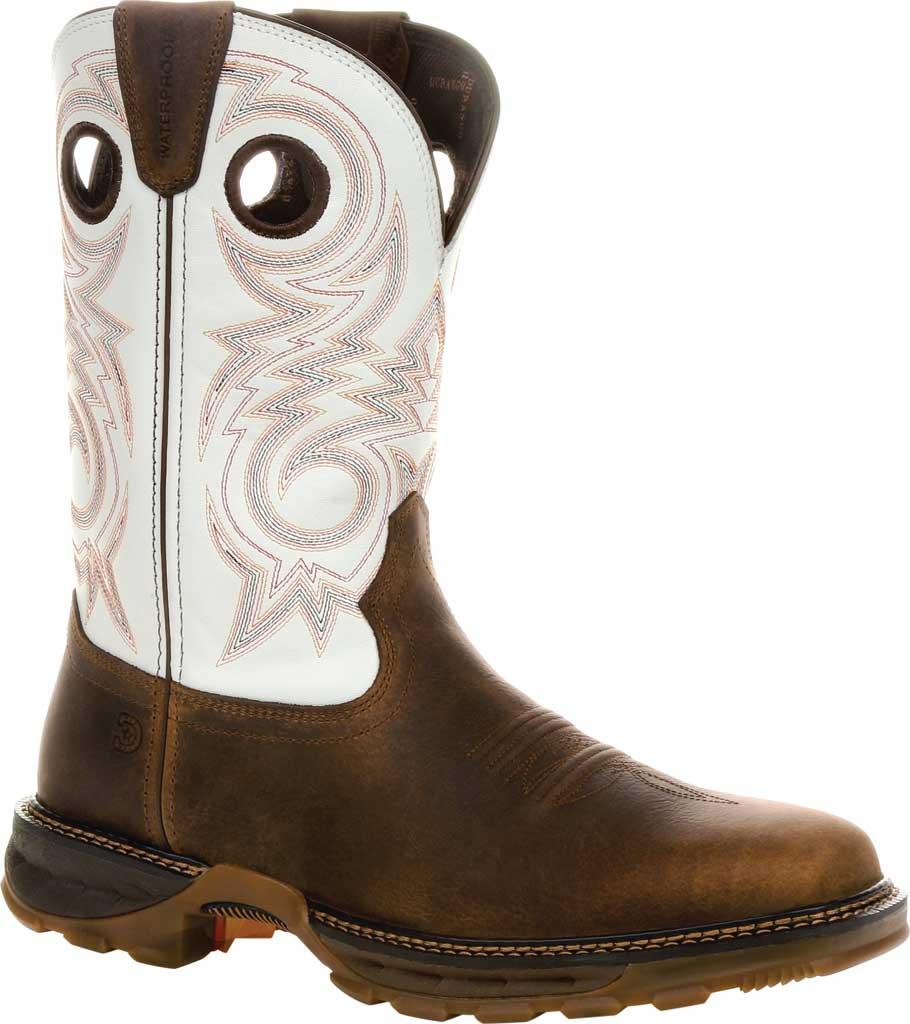 Men's Durango Boot DDB0302 Maverick XP Waterproof Western Work Boot, Chocolate/White Full Grain Leather, large, image 1