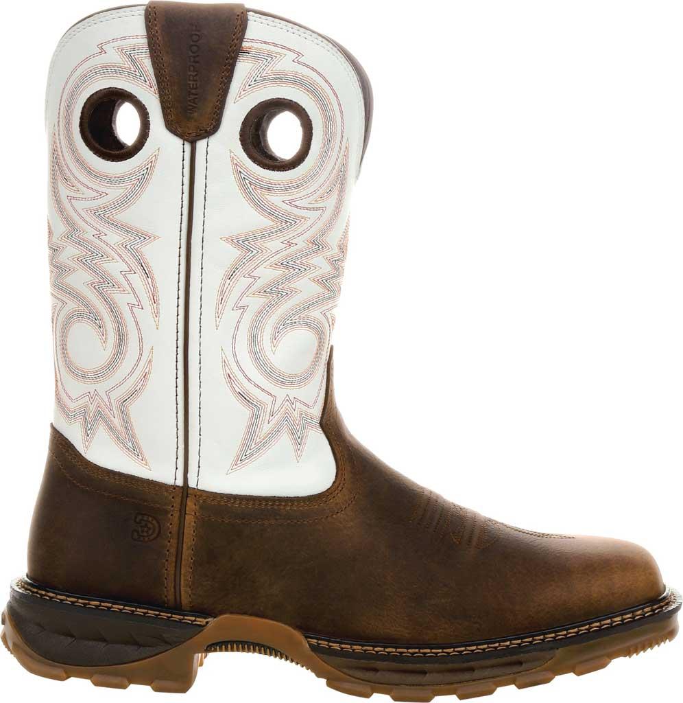 Men's Durango Boot DDB0302 Maverick XP Waterproof Western Work Boot, Chocolate/White Full Grain Leather, large, image 2