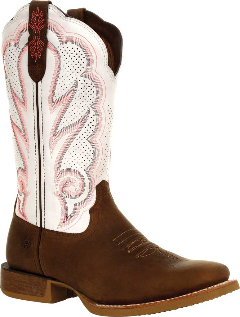 Women's Durango Boot DRD0392 Lady Rebel Pro Ventilated Western Boot, Trail Brown/White Full Grain Leather, large, image 1
