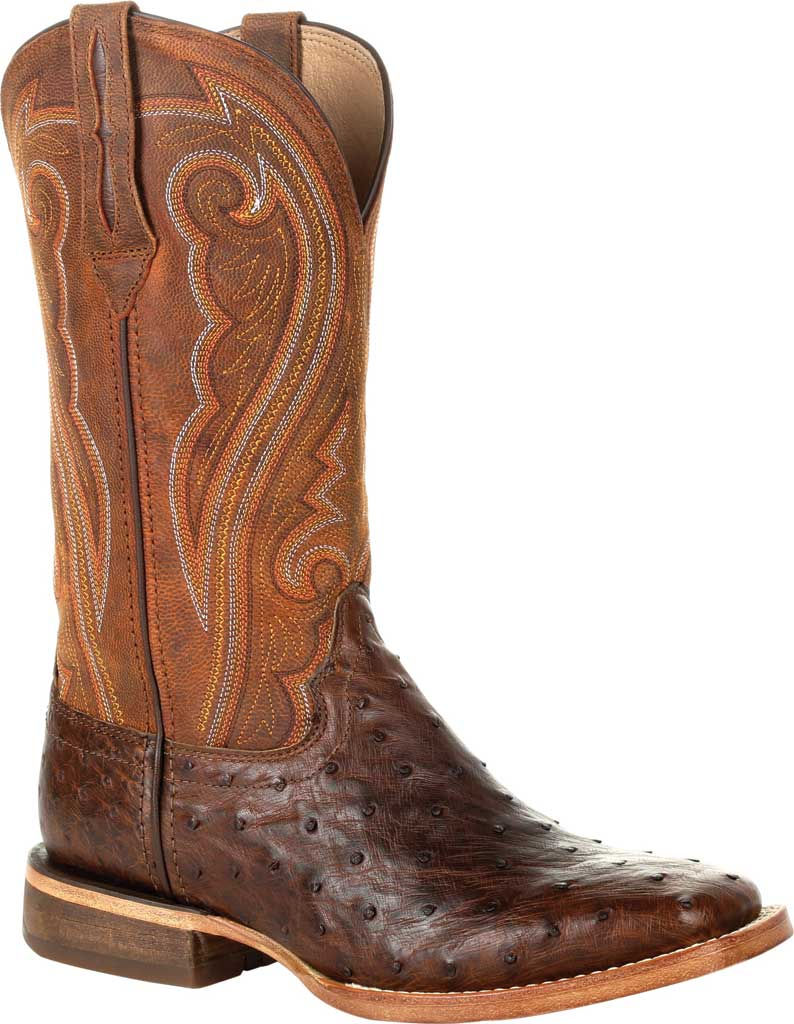 Women's Durango Boot DRD0389 Premium Exotics Quill Ostrich Western Boot, Antiqued Saddle Ostrich Quill/Full Grain Leather, large, image 1