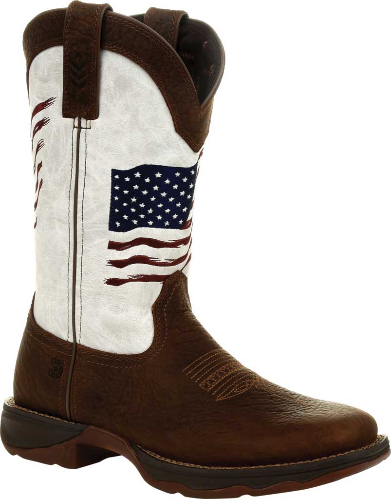 Women's Durango Boot DRD0394 Lady Rebel Distressed Flag Western Boot, Bay Brown/White Synthetic/Full Grain Leather, large, image 1