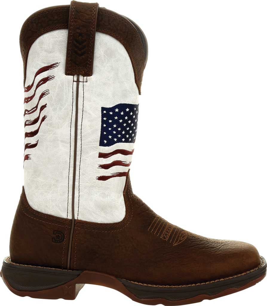Women's Durango Boot DRD0394 Lady Rebel Distressed Flag Western Boot, Bay Brown/White Synthetic/Full Grain Leather, large, image 2