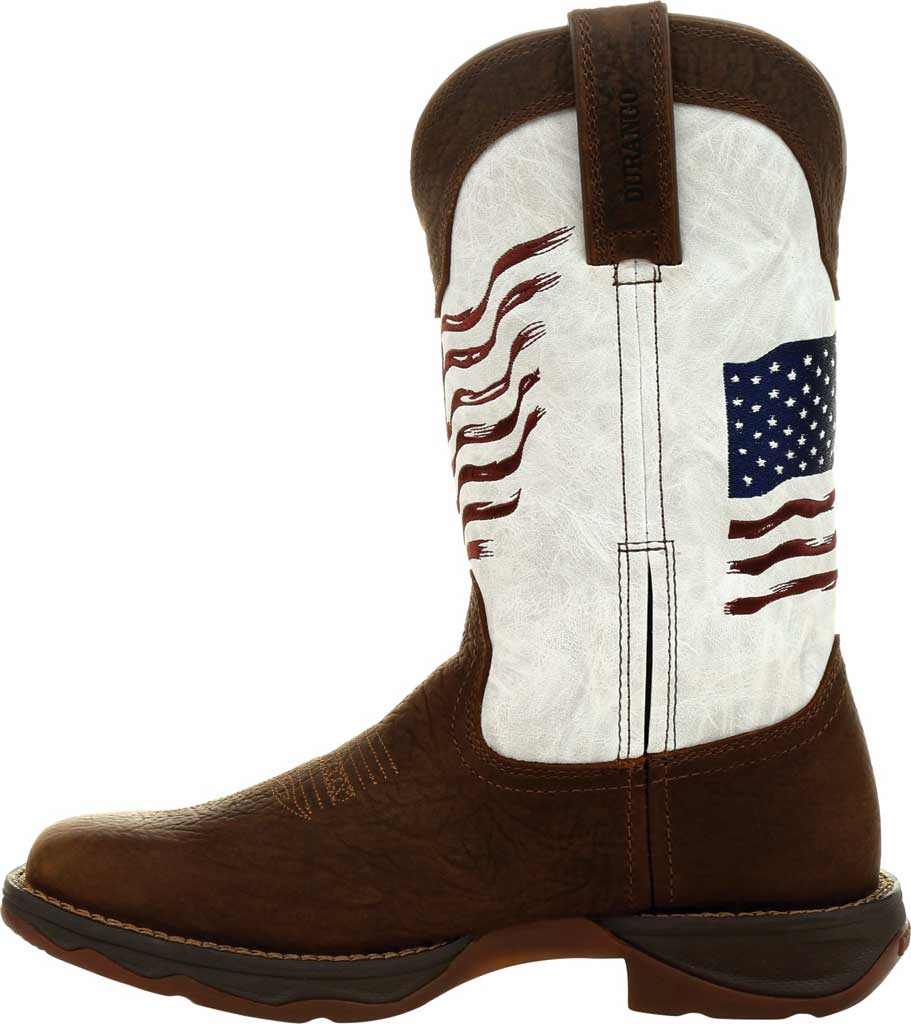 Women's Durango Boot DRD0394 Lady Rebel Distressed Flag Western Boot, Bay Brown/White Synthetic/Full Grain Leather, large, image 3