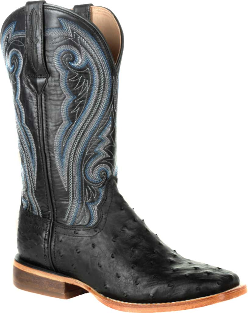 Women's Durango Boot DRD0390 Premium Exotics Quill Ostrich Western Boot, Black Onyx Ostrich Quill/Full Grain Leather, large, image 1
