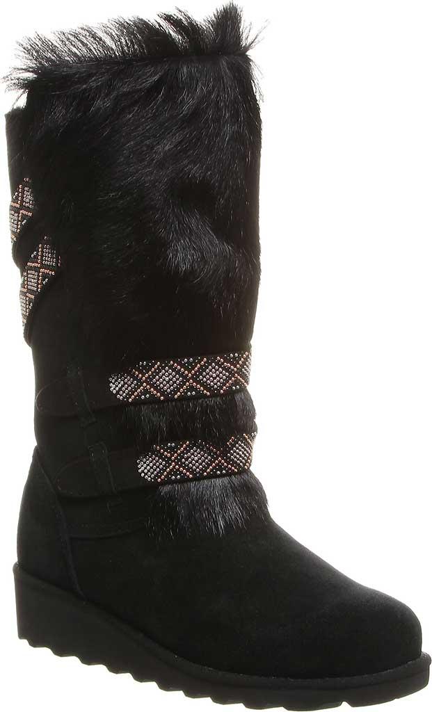 Women's Bearpaw Claudia Knee High Boot, Black II Suede/Faux Fur, large, image 1