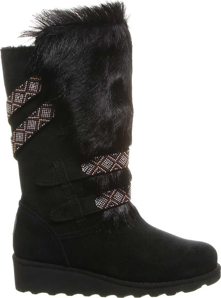Women's Bearpaw Claudia Knee High Boot, Black II Suede/Faux Fur, large, image 2