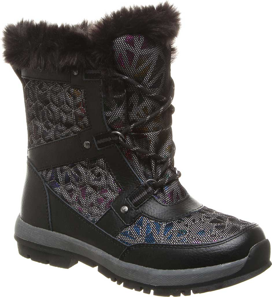 Girls' Bearpaw Marina Waterproof Boot, Black/Black Nylon, large, image 1
