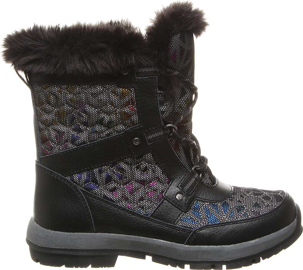 Girls' Bearpaw Marina Waterproof Boot, Black/Black Nylon, large, image 2