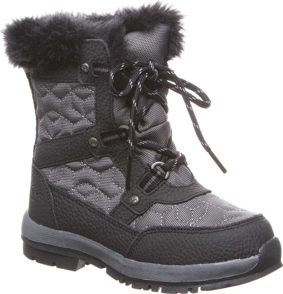 Girls' Bearpaw Marina Waterproof Boot, Black/Grey Nylon/Action Leather, large, image 1