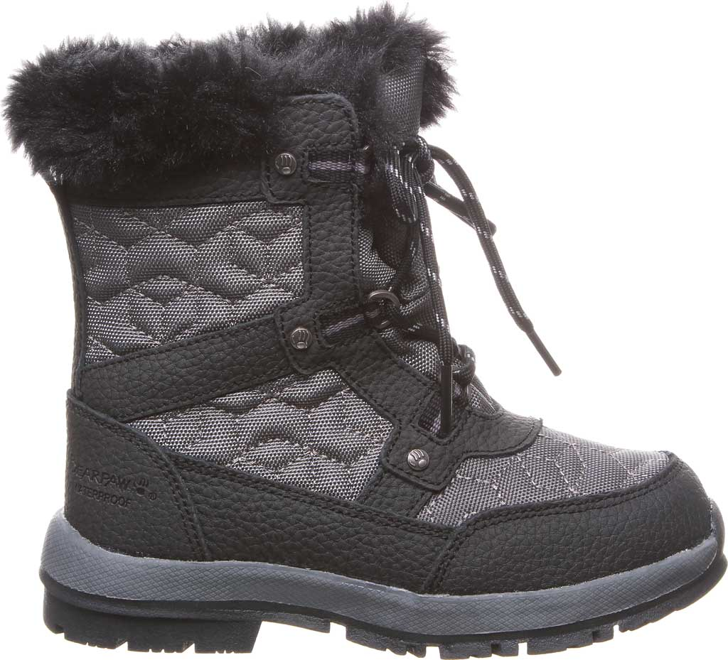 Girls' Bearpaw Marina Waterproof Boot, Black/Grey Nylon/Action Leather, large, image 2