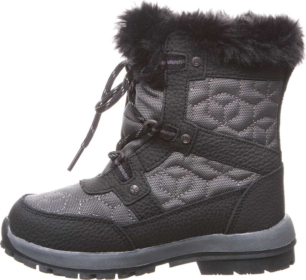 Girls' Bearpaw Marina Waterproof Boot, Black/Grey Nylon/Action Leather, large, image 3