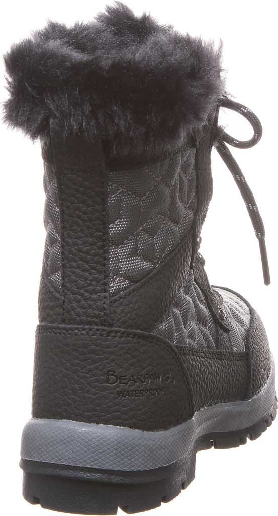 Girls' Bearpaw Marina Waterproof Boot, Black/Grey Nylon/Action Leather, large, image 4