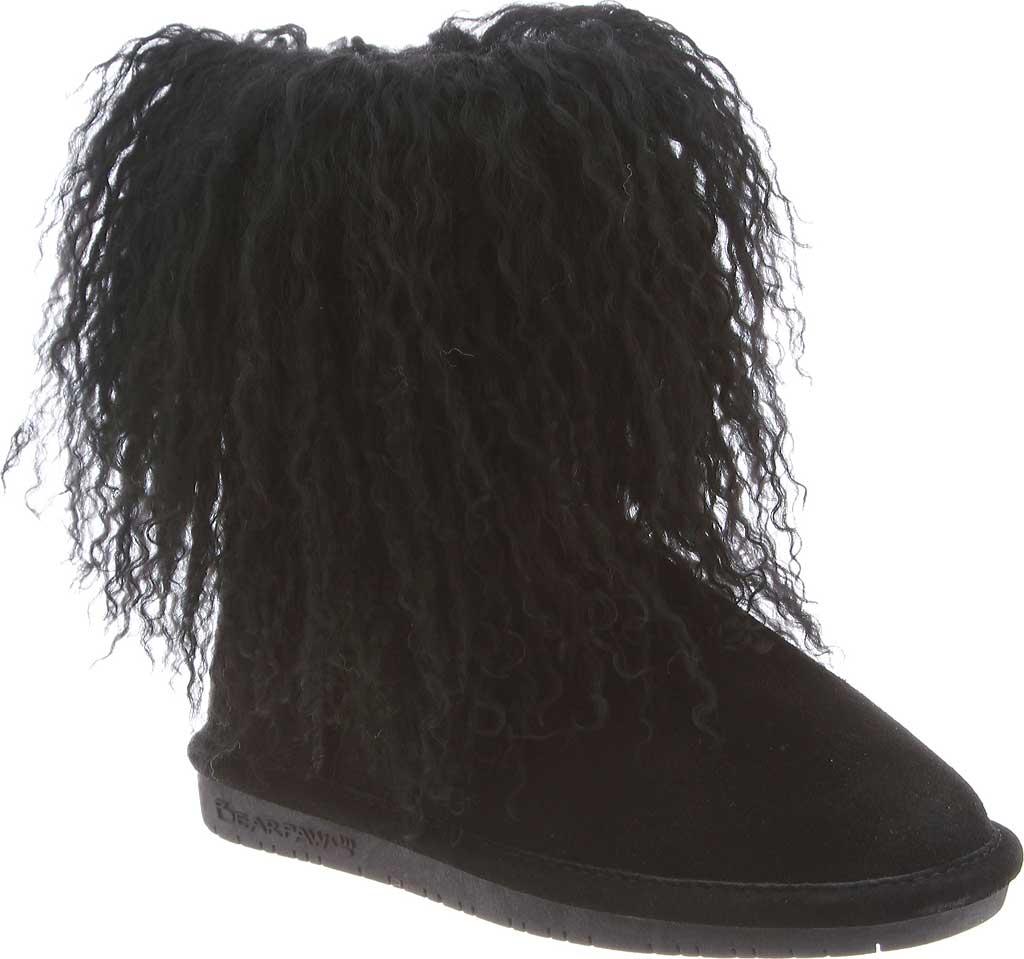 Girls' Bearpaw Boo Ankle Boot, Black II Cow Suede/Lambskin, large, image 1