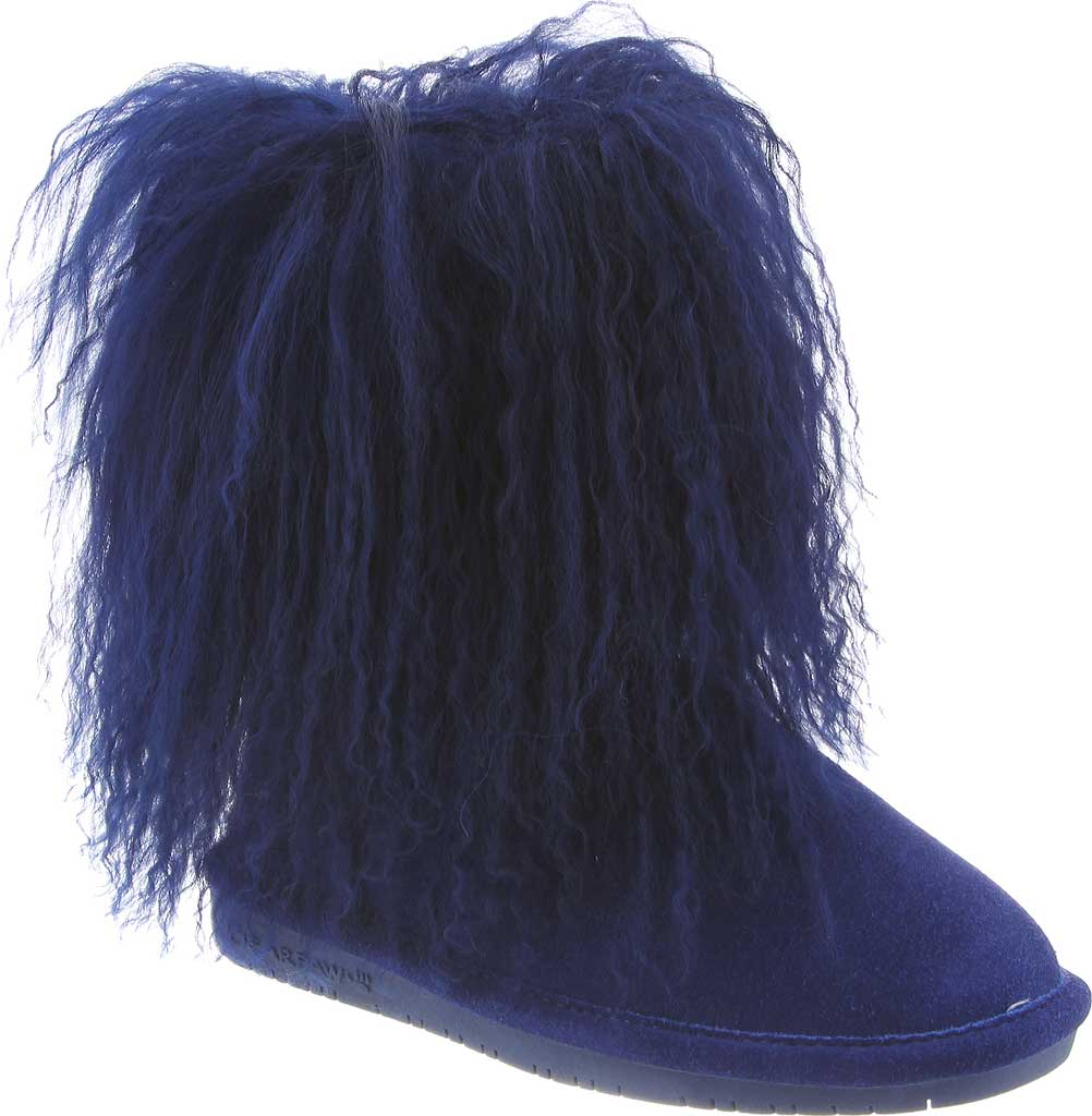 Girls' Bearpaw Boo Ankle Boot, Cobalt Blue Cow Suede/Lambskin, large, image 1