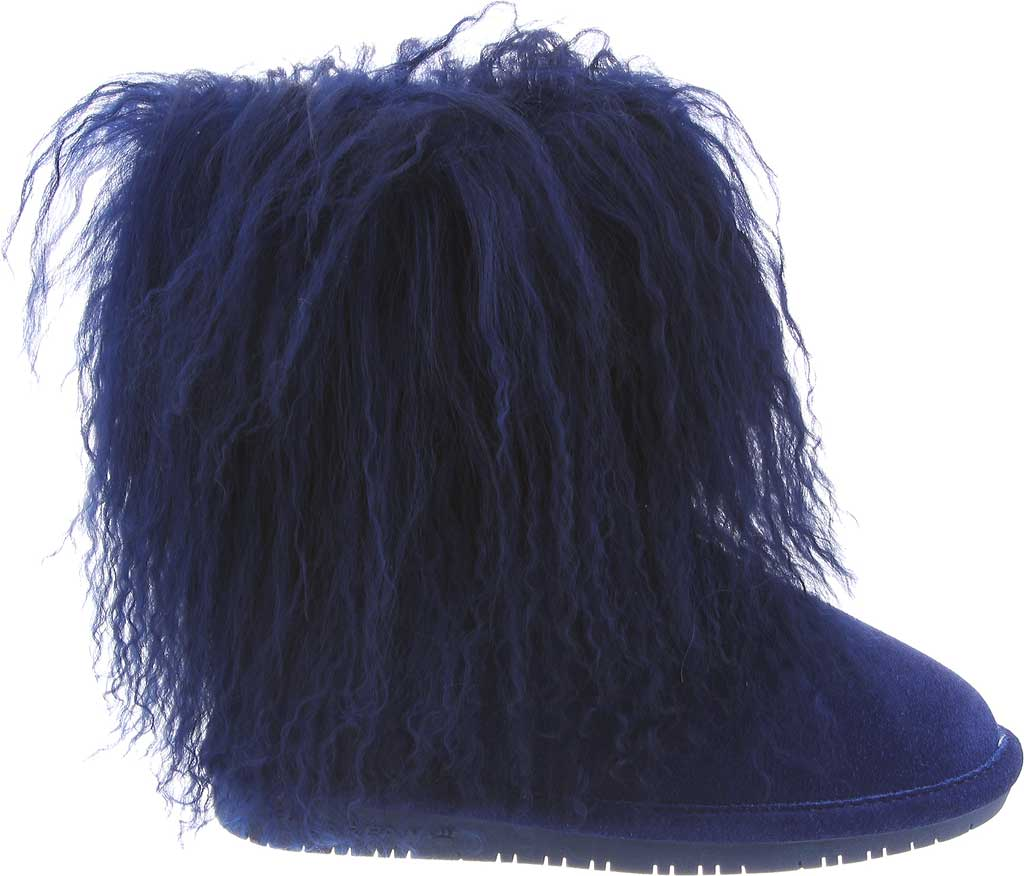 Girls' Bearpaw Boo Ankle Boot, Cobalt Blue Cow Suede/Lambskin, large, image 2