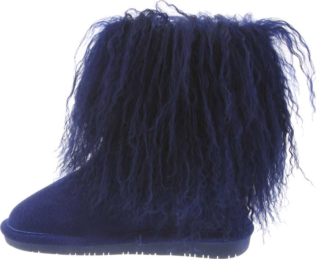 Girls' Bearpaw Boo Ankle Boot, Cobalt Blue Cow Suede/Lambskin, large, image 3