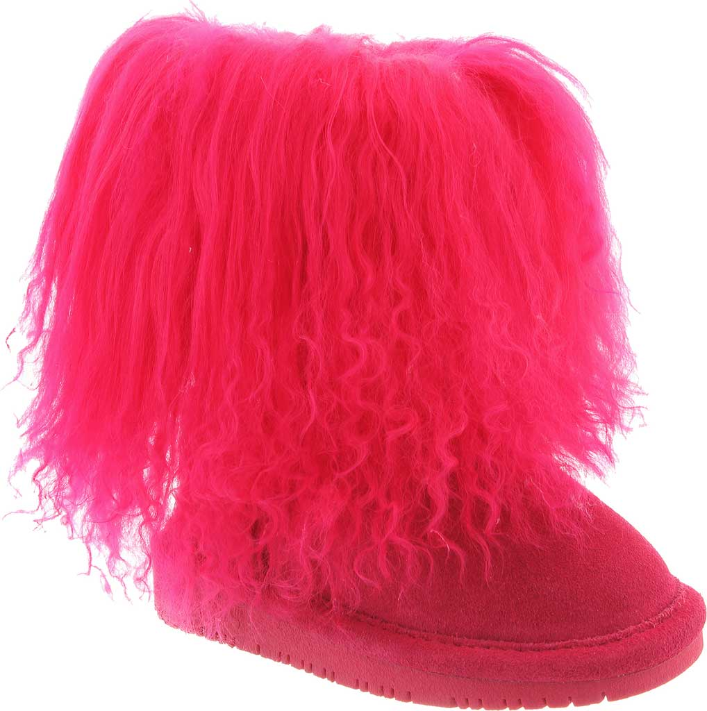 Girls' Bearpaw Boo Ankle Boot, Electric Pink Cow Suede/Lambskin, large, image 1